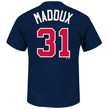 huge discount 6e99d 9748a Majestic Greg Maddux Atlanta Braves MLB Cooperstown Player Navy T-Shirt