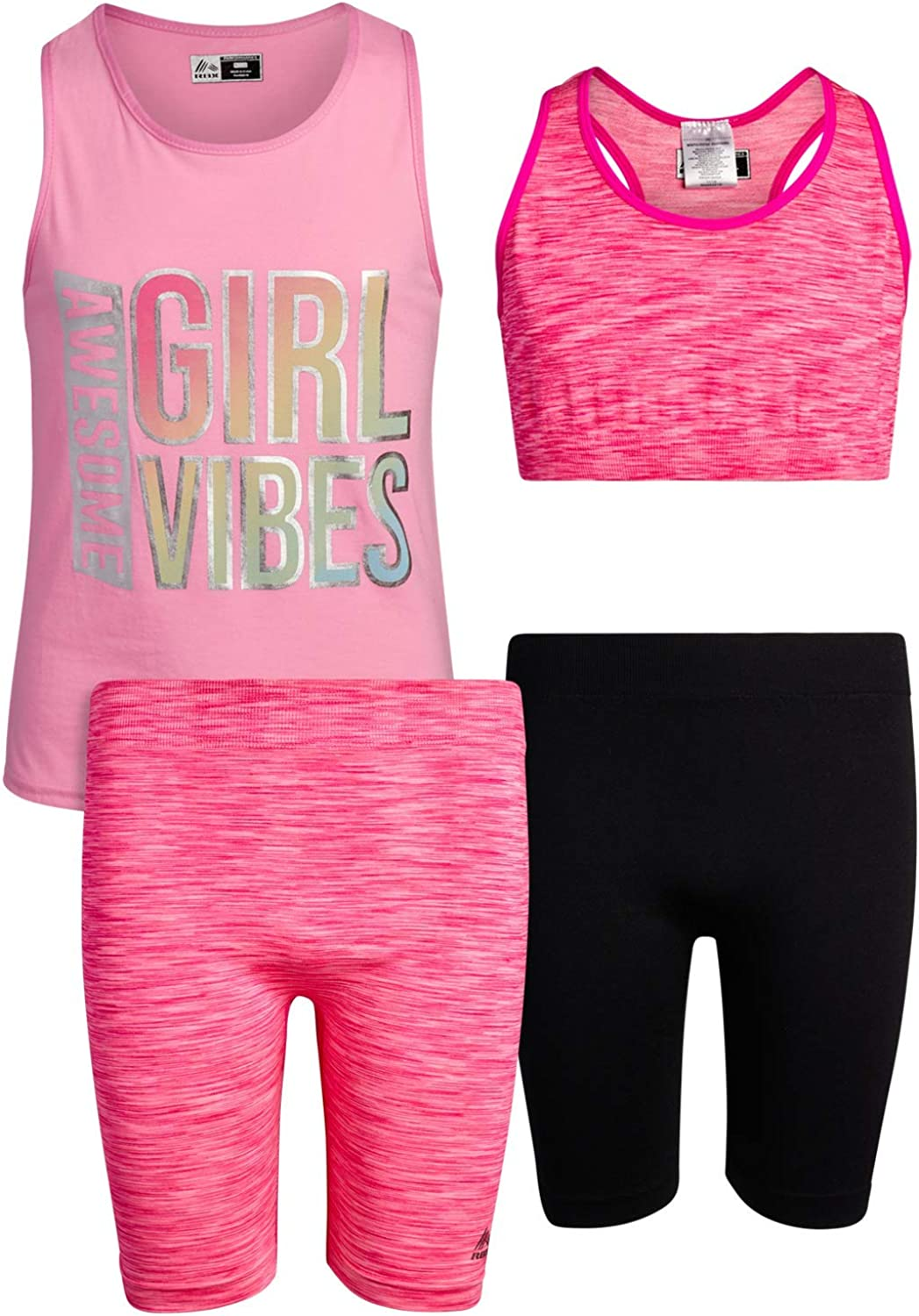 RBX Girls Workout Set Leggings 4 Piece Athletic Performance T-Shirt and Sports Training Bralette Set