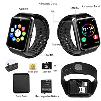 Smart Watch,Bluetooth Smartwatch Touch Screen Smart Phone Watch Android Smartwatch with Camera/SIM Card Slot Waterproof Bluetooth Smart Watch for ...