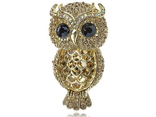 Pink Rhinestone Black Eyed Owl Bird Brooch Pin Wedding Party Animal Corsage