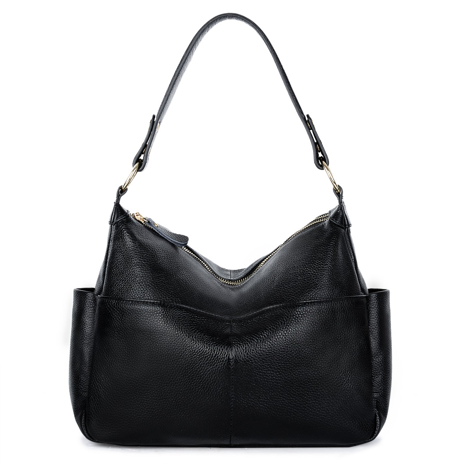YALUXE Women's Double Zipper Soft Hobo Style Leather Purse Shoulder Bag Black