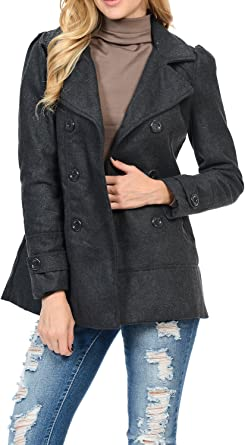 Amazon.com: Womens Double Breasted Wool Blend Hooded Pea Coat Charcoal S:  Clothing