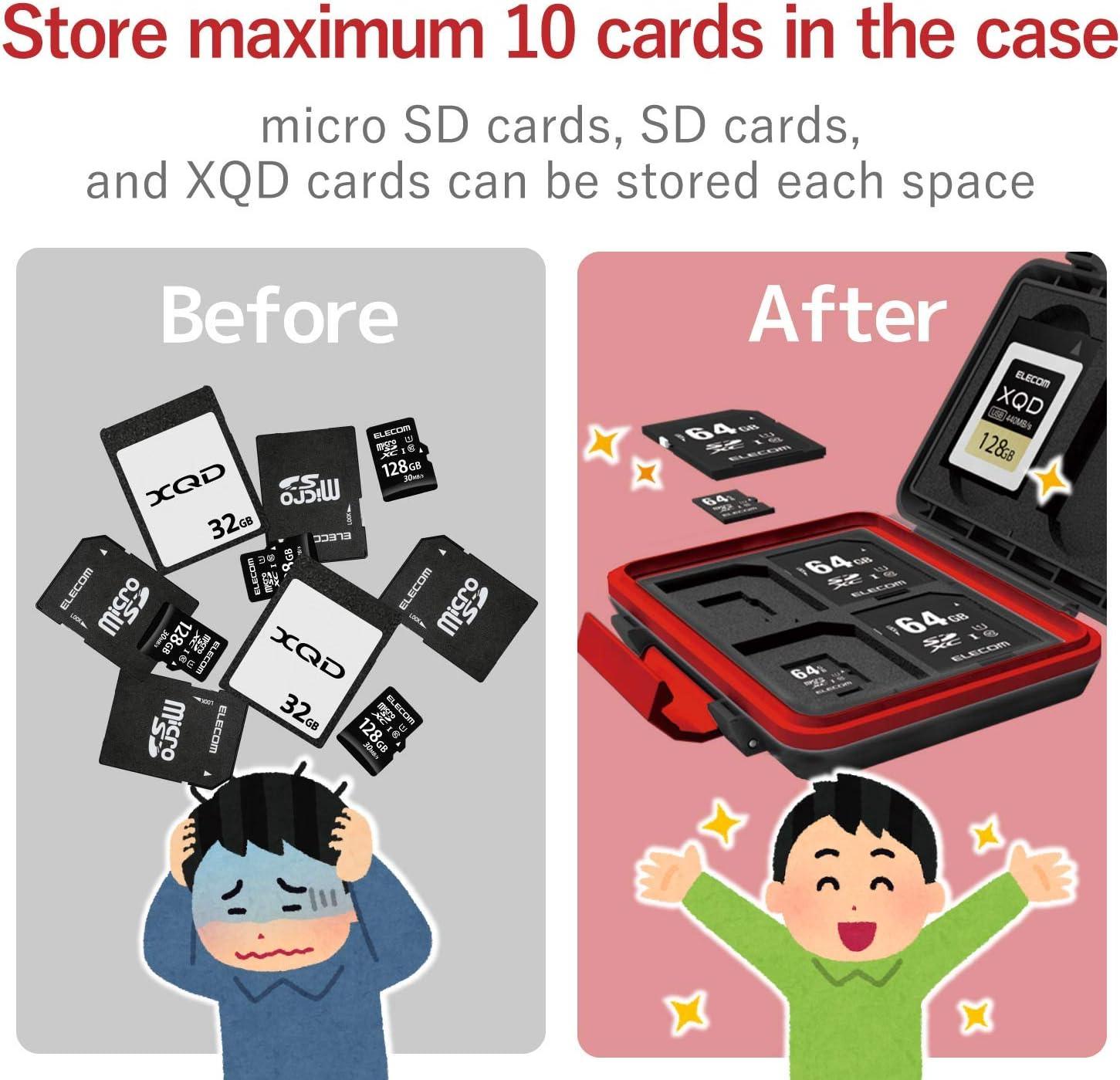 for 2 XQDs and 4 SDS and 4 SDS Shock Resistant Black CMC-SDCHD02BK ELECOM Memory Card case