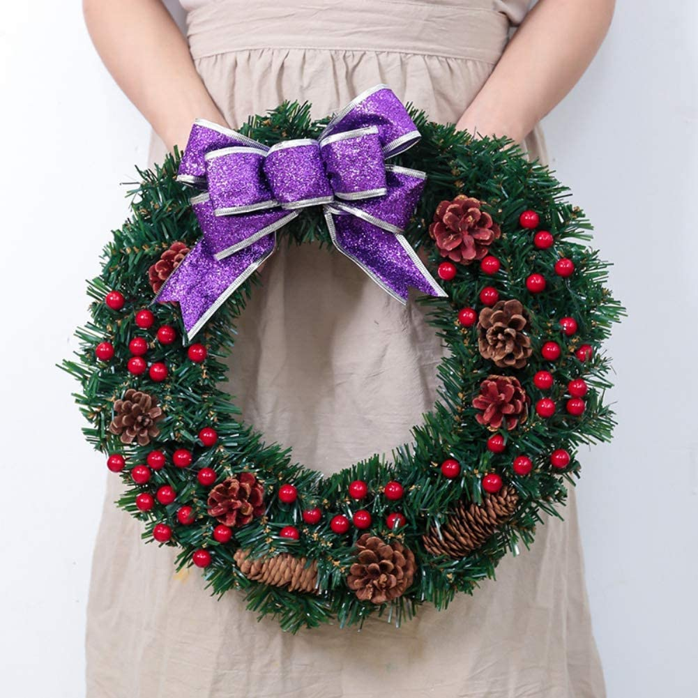 Ardorlove Christmas Wreath Merry Christmas Front Door Ornament 15.7 inch Pine Artificial Christmas Hanging Wreath Garland with Bowknot Bells Red Berries Flower Gifts for Christmas Party Decor
