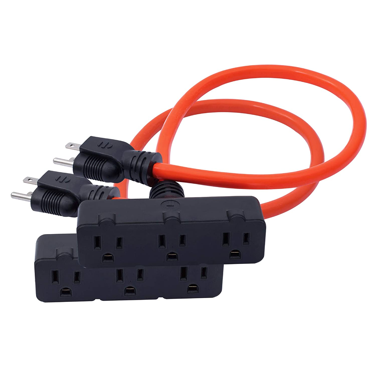KMC 3-Outlet Power Extension Cord 2-Pack, 12AWG 2-Feet Extension Cord, 125V/15Amp 1875Watt, Orange