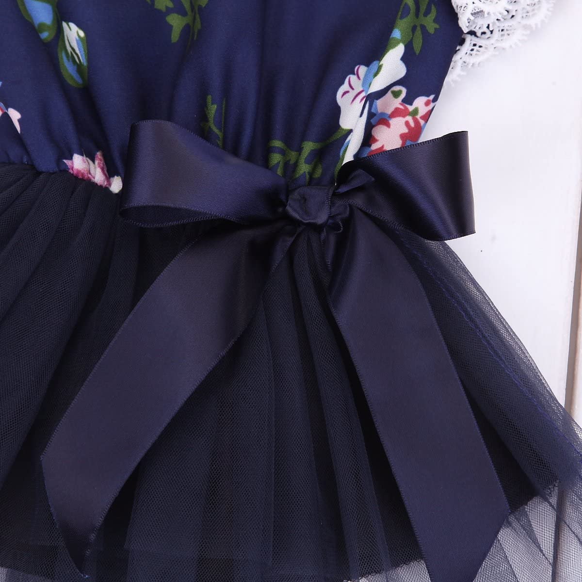 Newborn Infant Baby Girl Ruffle Sleeve Lace Floral Top Tutu Dress with Bowknot
