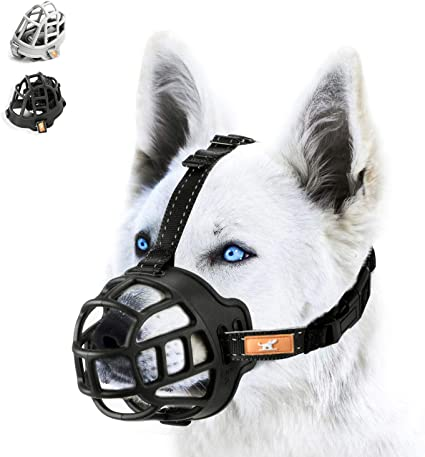 Medium and Large Dogs Chewing and Licking wintchuk Soft Silicone Basket Dog Muzzle Mouth Cover with Nylon and Reflective Neck Straps for Small Adjustable Biting Anti Barking