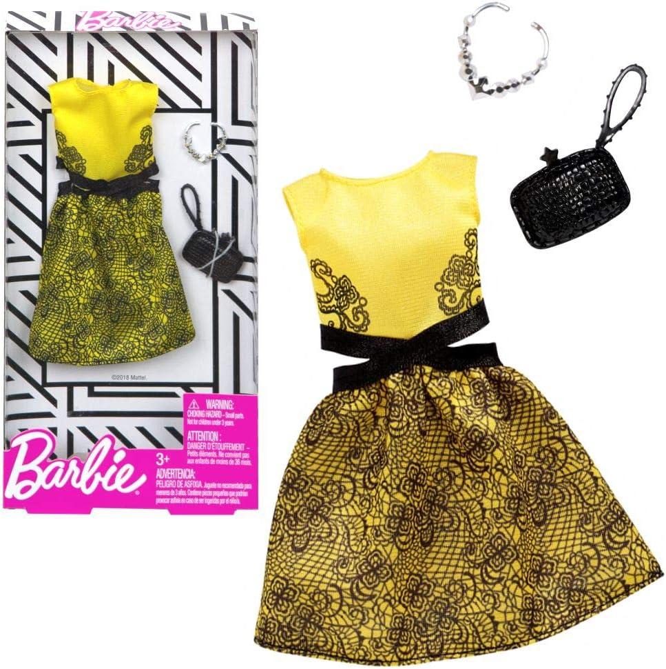 Barbie Vestido de Coctel Amarillo Mattel FXJ08 | Moda Ropa de la Muñeca