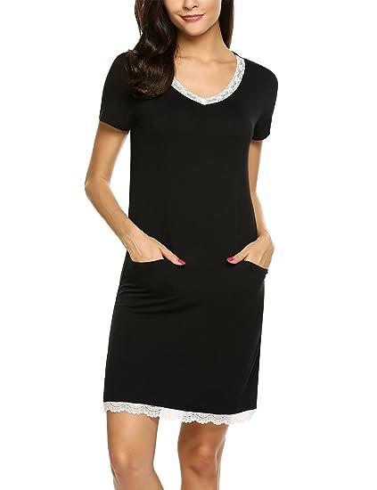 HOTOUCH Nightgown Women V-Neck Sleepshirt Short Sleeve Sleep Dress  Lace-Trim Sleepwear S-XXL  Amazon.co.uk  Clothing 6abf7a770