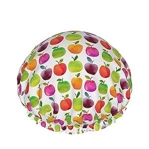 Fruits Apples And Pears Shower Cap, Cap For Women Long Hair Waterproof Luxury Reusable Sleep Spa Salon Bonnet