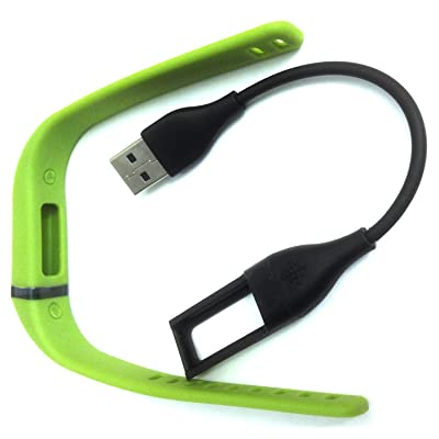 1pc Large L Lime Green Band + Cable for Fitbit FLEX Only /No Clasp/No tracker/Not for Fitbit One or other Models/ Band Wireless Activity Bracelet Sport Wristband Fit Bit Flex Bracelet Sport Arm Band Armband Charging Cable