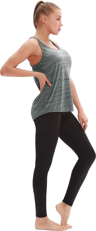 T-Shirt sans Manches Tops Exercice Yoga Running d/écontract/é icyzone Dos Nageur D/ébardeur de Sport Femme