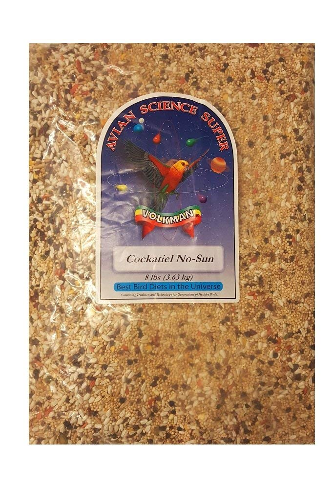 8 lb Volkman Avian Science Super Cockatiel No Sunflower Bird Food 8 lb