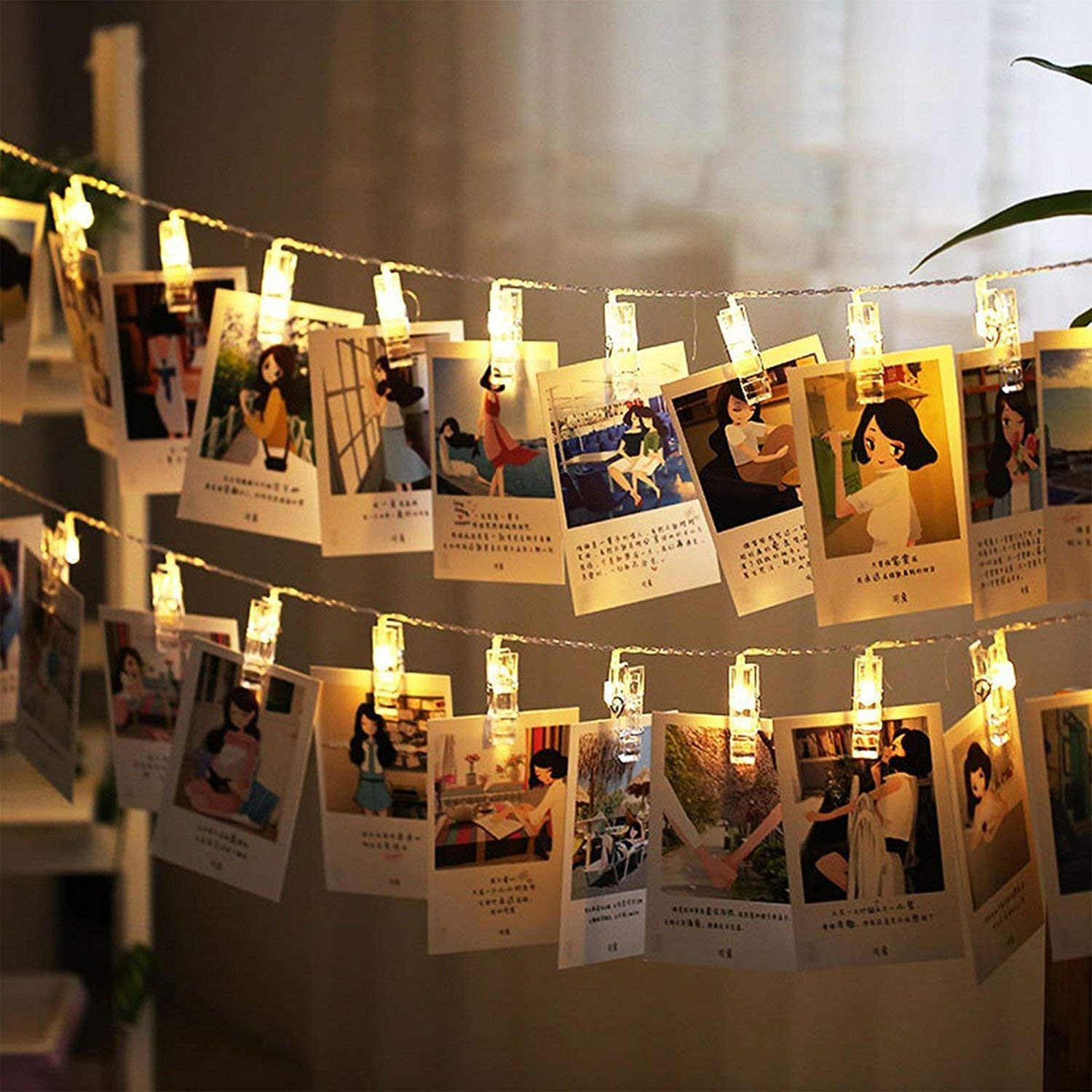 Party Arespark 40 LED Photo Clips String Lights for Wedding Photo String Lights Cards and Artwork Home Decoration Lights Warm White Hanging Photos Christmas