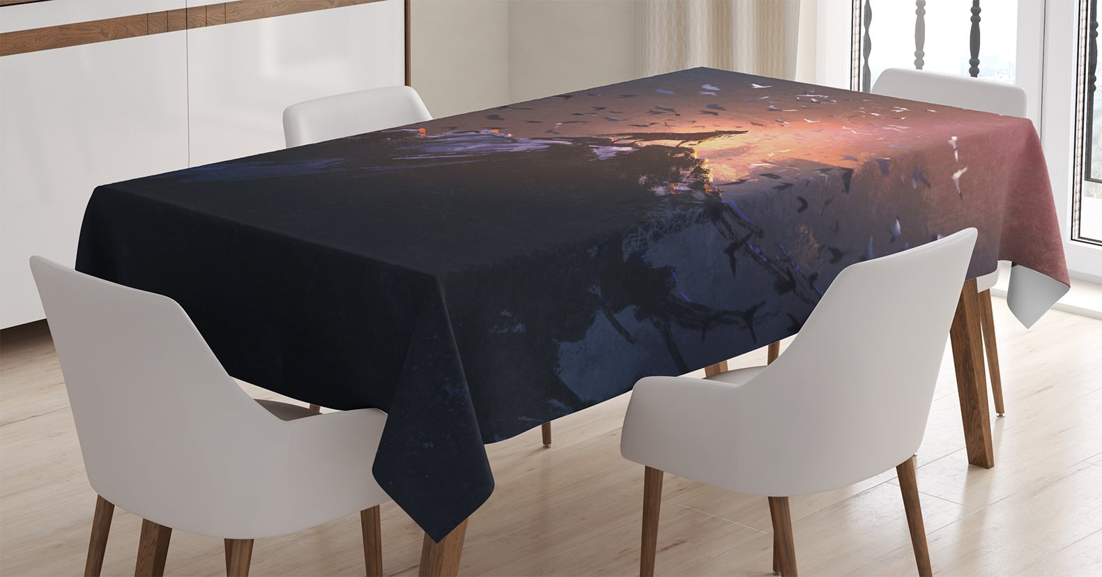 Ambesonne Fantasy World Decor Tablecloth, Howling Wolf on a Rock Surrounded by Bats Birds Scary Dog Wild Life Animals Picture Art, Rectangular Table Cover for Dining Room Kitchen, 52x70 inch, Multi