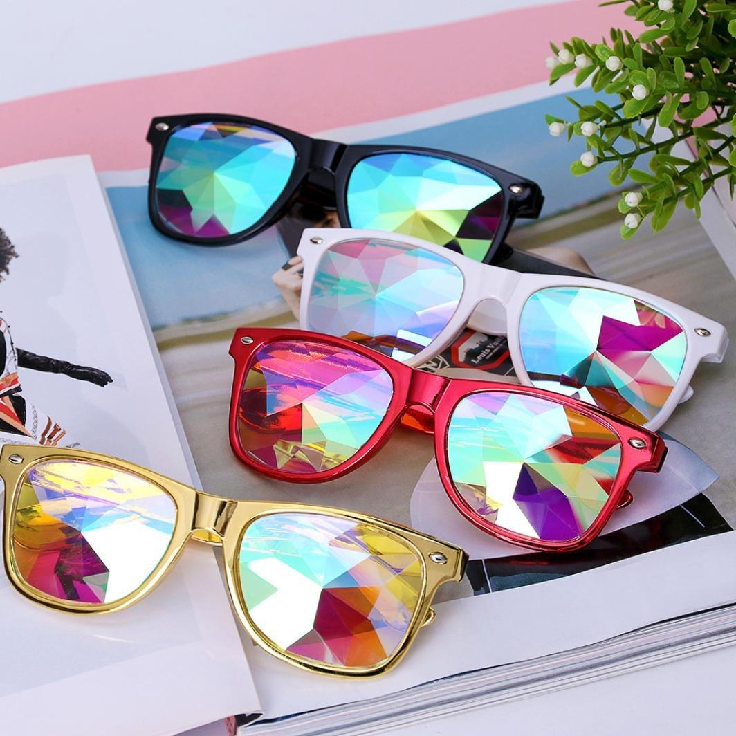 Chartsea Kaleidoscope Glasses Rave Festival Party EDM Sunglasses Diffracted Lens (White,B) by Chartsea (Image #4)