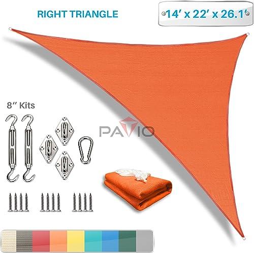 Patio Paradise 14 x 22 x 26 Sun Shade Sail with 8 inch Hardware Kit, Orange Right Triangle Canopy Durable Shade Fabric Outdoor UV Shelter – 3 Year Warranty – Custom