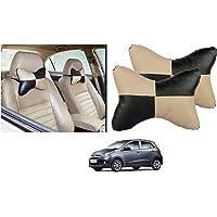 Kozdiko Car Seat Pillow/Seat Cushion/Head Rest (Black/Beige, Set of 2 Pcs) Neck Rest Pillow Square Chess Design for Hyundai Grand i10