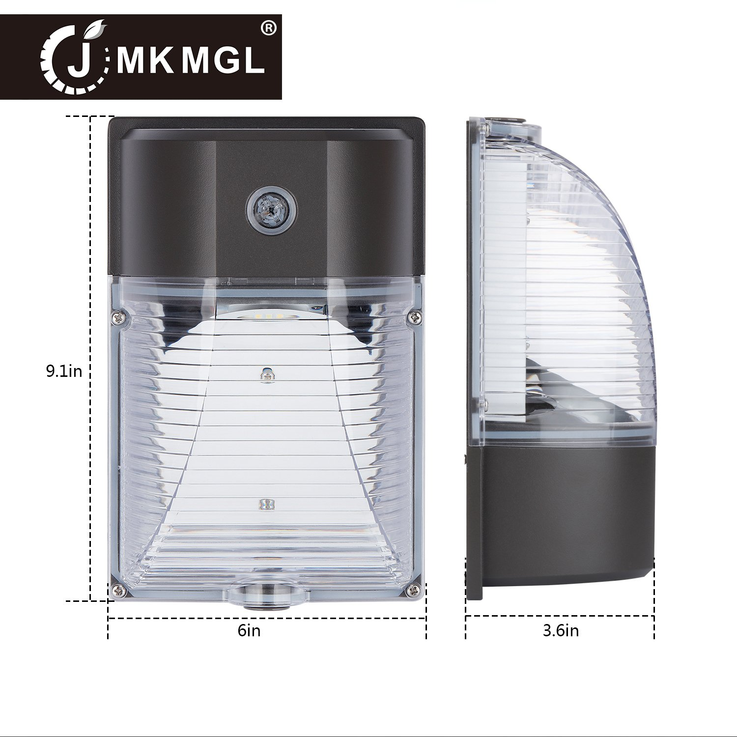 ,with Photocell Dusk to Dawn,3000LM 5000k Daylight White,IP65 Outdoor Security Lights,ETL-Listed,5 Years Warranty 150-250W Replacement LED Wall Pack Light 2 Pack 26 Watt JMKMGL 26W