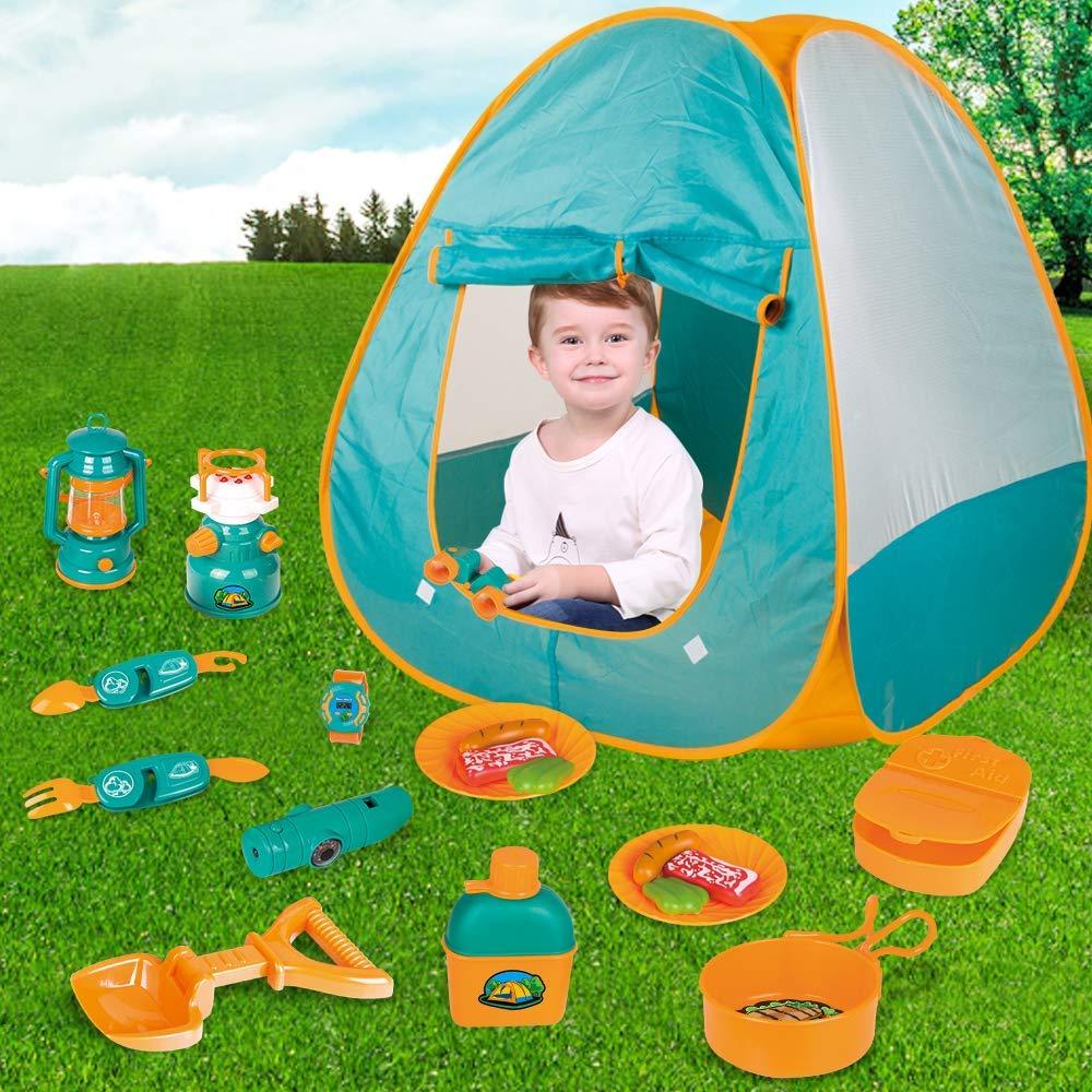 LBLA Pieghevoli Tenda da Gioco per Bambini Interno e Allaperto Gioco di Ruolo Cucinare Giocattoli Tenda da Campeggio Giocattolo per Bambini