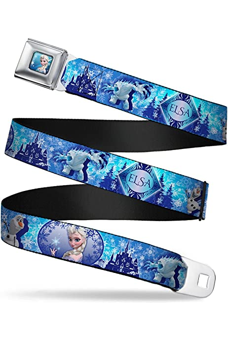 Elsa the Snow Queen Poses PERFECT AND POWERFUL Blues//White 1.0 Wide Buckle-Down Seatbelt Belt 20-36 Inches in Length