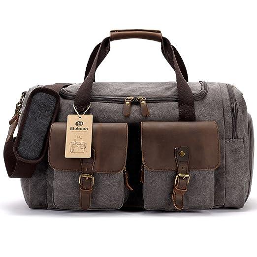 BLUBOON Sac fourre-tout en toile avec compartiment à chaussures Weekend / Weekender Sac de voyage en cuir Bagage cabine pour hommes et femmes (Gris) bjjDcTs