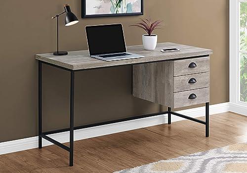 Monarch Specialties Industrial Computer Desk 3 Drawers Metal Frame Rectangular Laptop Study Table