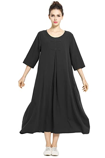 78a0ae66a5 Anysize Spring Summer Dress Soft Linen Cotton Maxi Dress Plus Size Clothing  F120A Black