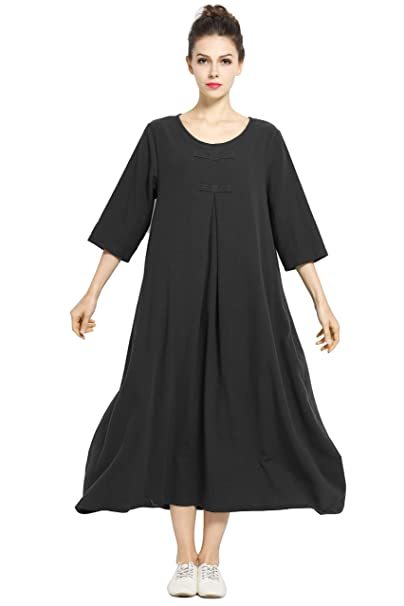 Anysize Spring Summer Dress Soft Linen Cotton Maxi Dress Plus Size Clothing  F120A