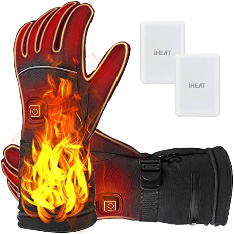 Heated Gloves,4100MAH Electric Rechargeable Battery Heating Gloves for Men Women,3 Heating Levels With Adjustable Temperature,Touchscreen Waterproof Winter Warm Gloves for All Kinds of Outdoor Activities