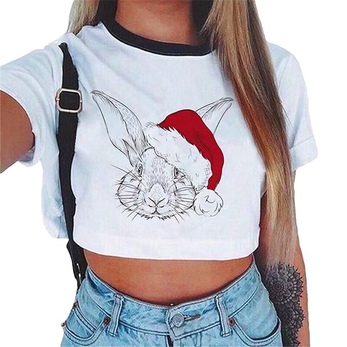 Baijiaye Mujer Camiseta Temporada De Verano Casual Crop Top Moda Media Cintura Top Patrón Impreso T