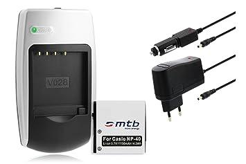 Batería + Cargador NP-40 para Casio Exilim EX-Z200, Z300, Z400, Z450, Z500, Z600
