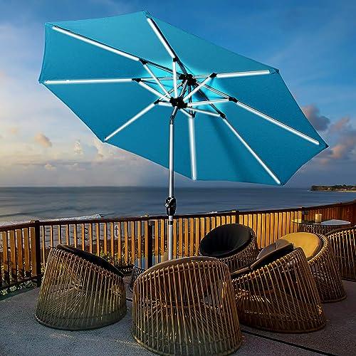 Aok Garden 9 Patio Umbrella, Outdoor Solar LED Table Market Umbrella with Push Button Tilt Crank 8 Ribs, Light Blue
