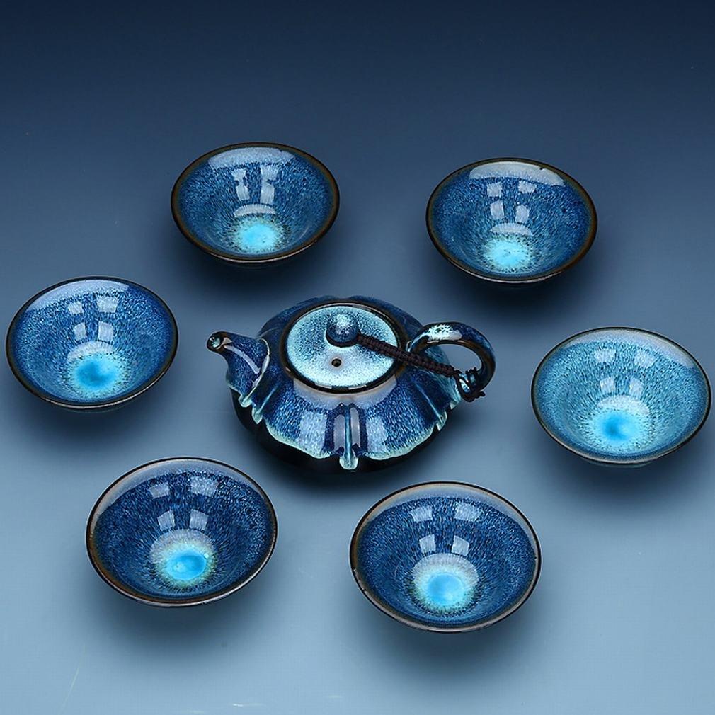 L Y Kung Fu Tee-Set Tianmu Glasierte Emaille Brennofen Set Keramik-Paket Geschenkbox