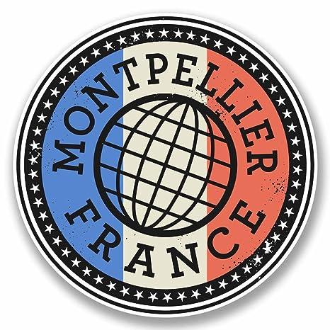 2 x Montpellier Francia adhesivo de vinilo para ordenador portátil coche viaje equipaje etiqueta etiqueta #