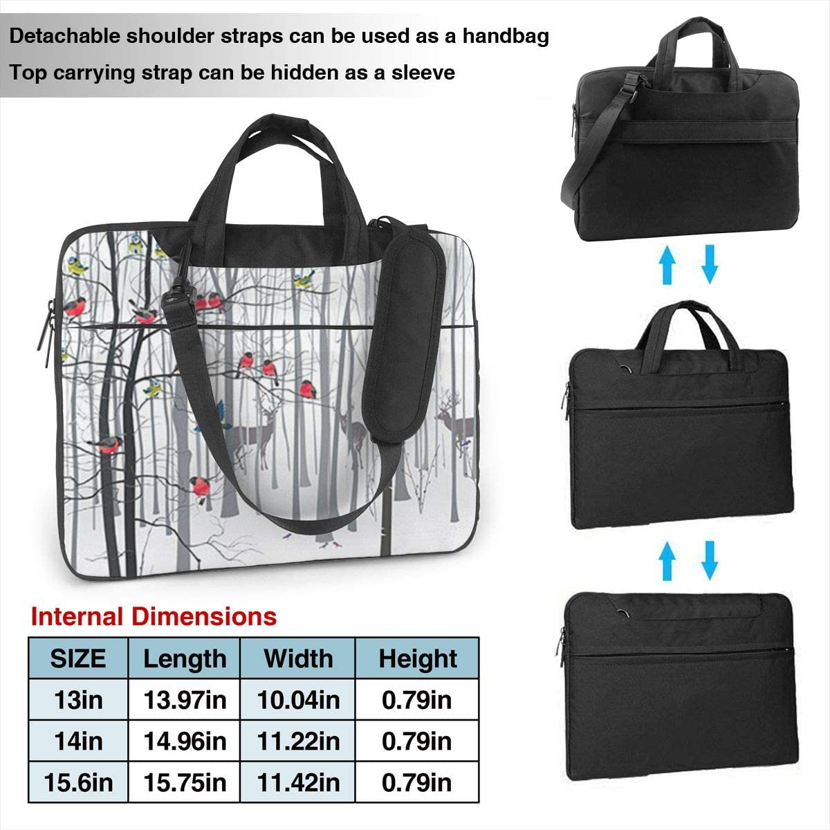 Winter Tree and Bird Deer Laptop Messenger Bag Briefcase Notebook Bussiness Handbag