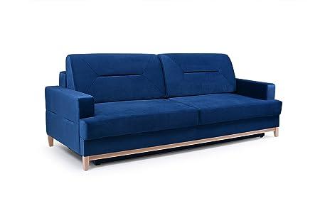 Mb Moebel Velours Sofa Mit Holzrahmen Couch Mit Schlaffunktion
