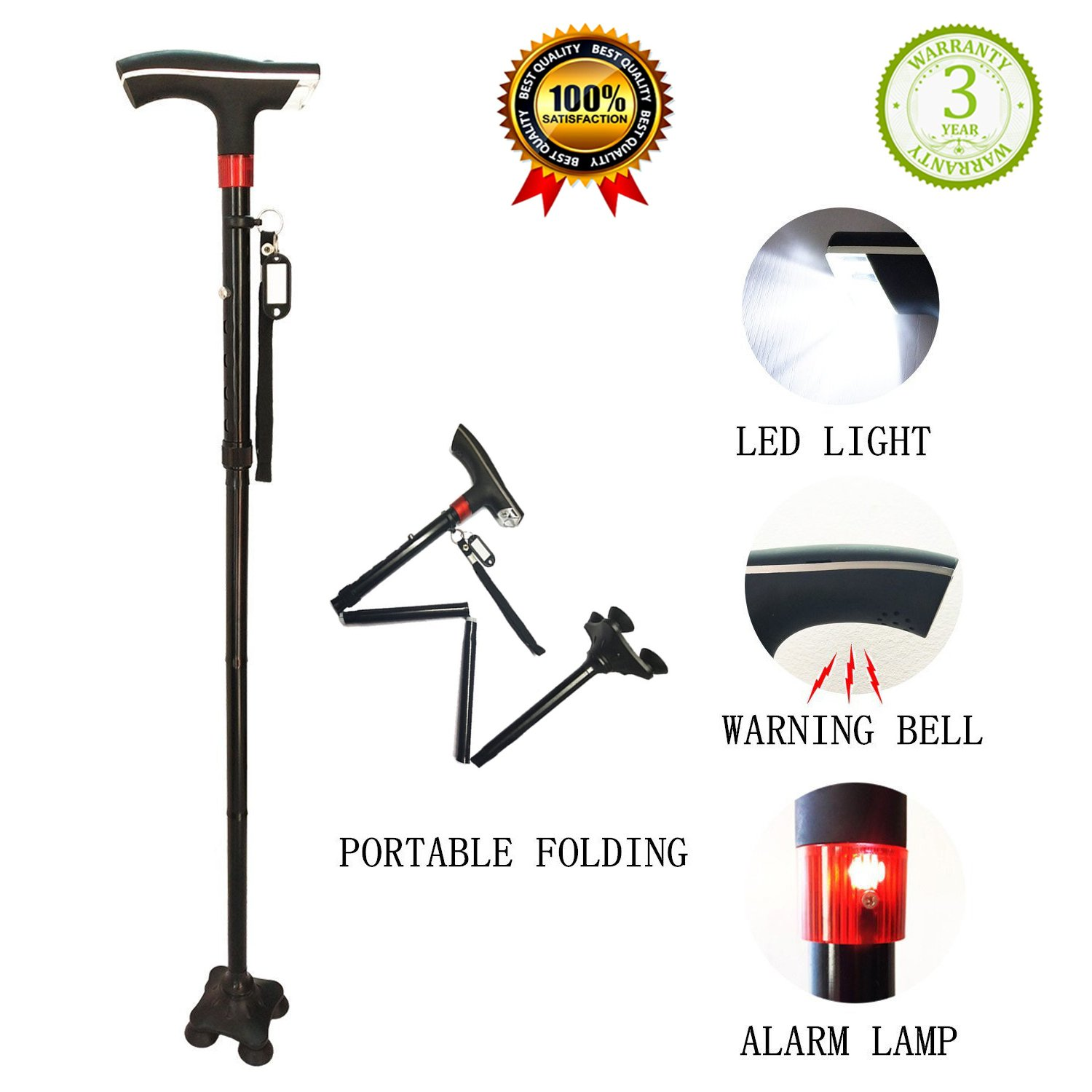 Walking Cane Survival Multitool Height Adjuatable Collapsible Folding Walking Canes Stick Mobility Aids with Replacable Tip LED Light SOS Alarm Name Plate Carrying Bag Packaging for Men Women Black