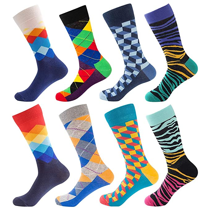 Men's Funny Dress Socks,Colorful Crazy Fun Cool Novelty Socks Pack by BONANGEL,Funky Casual Crew Groomsmen Gift Socks