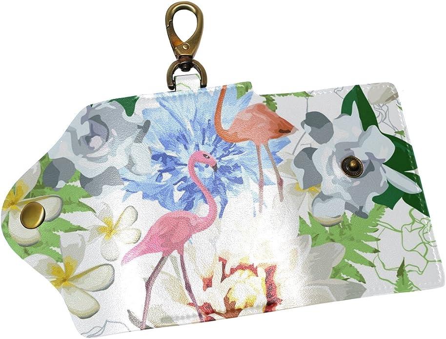 KEAKIA Flamingos Pattern Leather Key Case Wallets Tri-fold Key Holder Keychains with 6 Hooks 2 Slot Snap Closure for Men Women