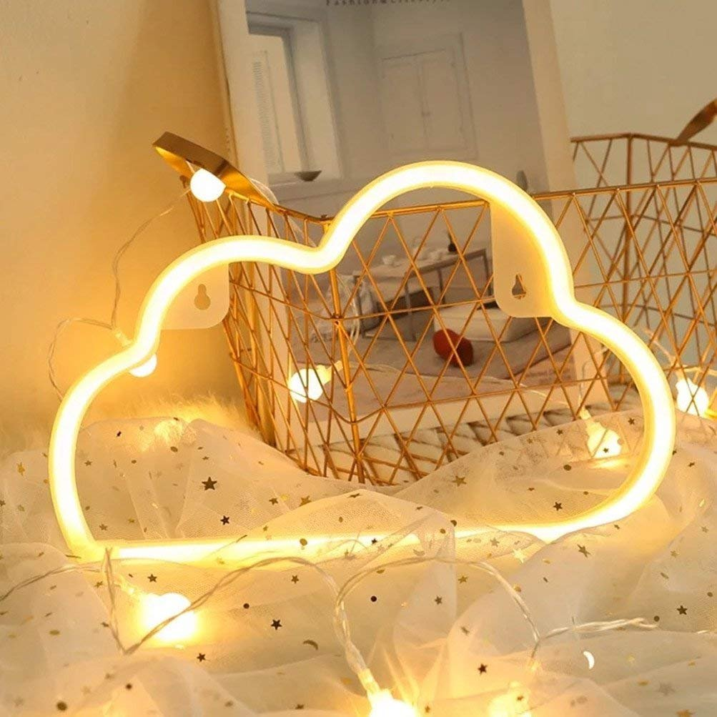 LgoodL Modern LED Neon Light USB Lantern Battery Box Lights Glowing String Clouds Love Lightning Modeling Lights Room Decor Lights Chistmas Party (Clouds Sign),Warm white