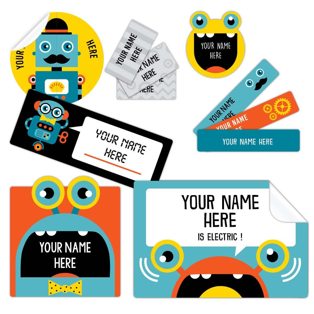Peel and stick personalized custom name labels robot amazon ca