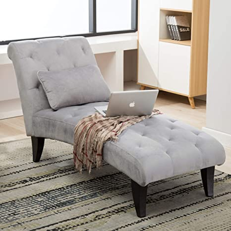 Chaise Lounge For Bedroom Living Room Leisure Chair Button Tufted Upholstered Lounge Chiar Gray