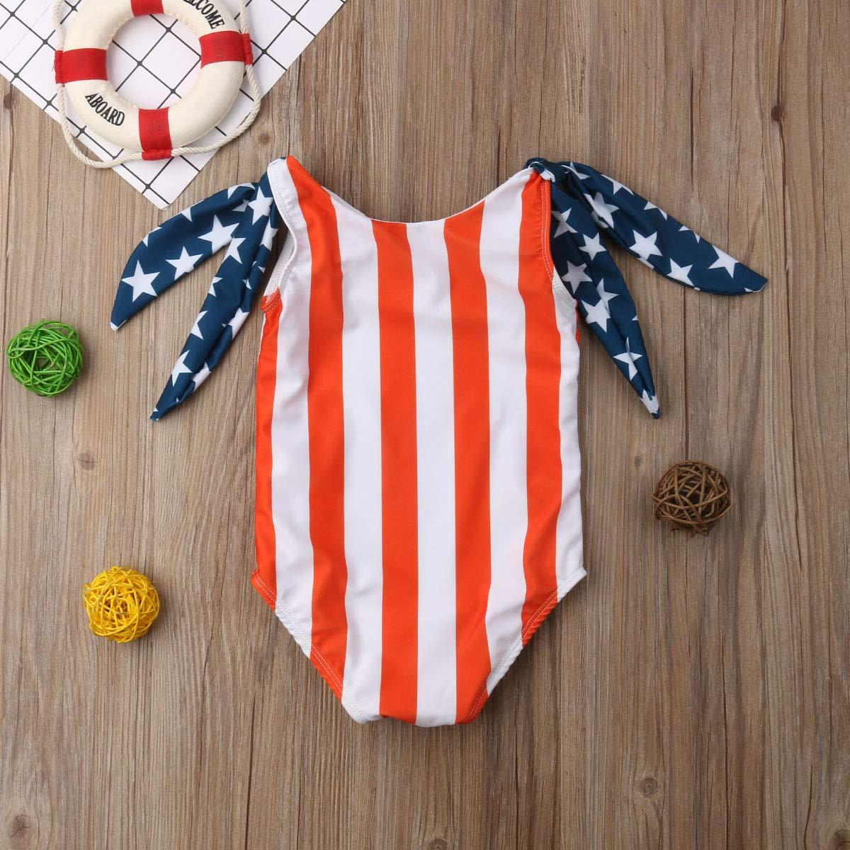 Baby Girl US Flag Swimsuits Swimwear Cute Stripes One-Piece Bathing Suit Toddler Kids Girl Beach Wear