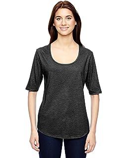54005a18 Anvil 6756L Ladies' Triblend Deep Scoop Half-Sleeve T-Shirt Cotton Blend