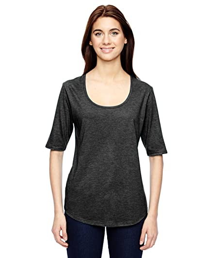 b957f097 Anvil 6756L Ladies' Triblend Deep Scoop Half-Sleeve T-Shirt Cotton Blend at  Amazon Women's Clothing store: