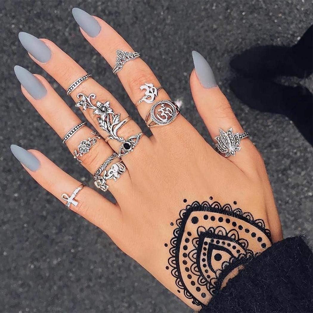 Sethexy Boho Anillos de dedo Punk Clásico Diamante de imitación Anillo de nudillos 11 piezas Floral Piedra de la luna Apilable Anillos Joyería Conjunto de accesorios de mano para mujeres y niñas (D)