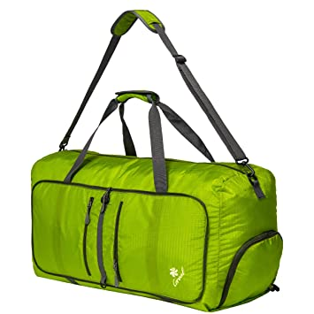 a9dc92f8e5ba Coreal 80L Foldable Travel Camping Duffle Luggage Bag with Shoe Compartment  Fluorescent Gree