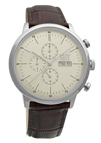 Davis 1950- Reloj retro clasico para hombre, con cronógrafo sumergible hasta 50 metros, dia y fecha, correo de piel marron: Amazon.es: Relojes