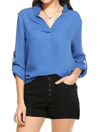 Meaneor Mujer Camiseta Casual de Gasa Manga Larga Otoño S-XL